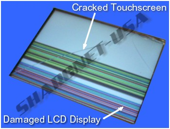 "Figure #2: Cracked 3.5"" Touchscreen Glass & Damaged 3.5"" LCD Display"