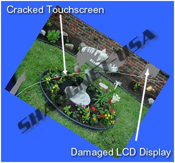 "Figure #4: Cracked 3.5"" Touchscreen Glass & Damaged 3.5"" LCD Display"
